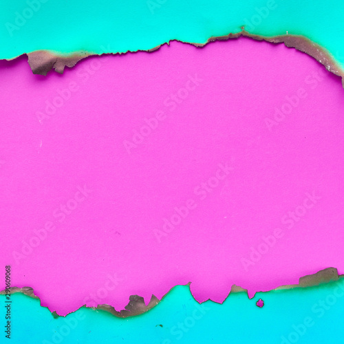 canvas print motiv - tilialucida : Vibrant color paper with burned edges, flat lay with copy-space