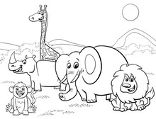 Cartoon Safari Animals Group Coloring Page