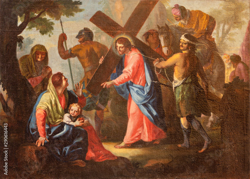 MALCESINE, ITALY - JUNE 13, 2019: The painting of Jesus meets the women of Jerusalem (part ot Via Crucis) in church Chiesa di Santo Stefano by unknown artist of 17. cent.