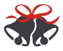 Christmas Bells Symbol Red Ribbon Vector Illustration