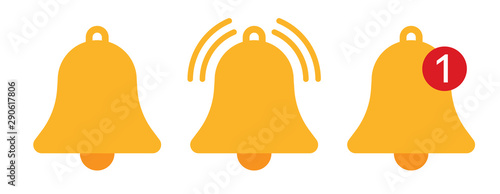 Orange notification bell icons vector illustration Fotobehang