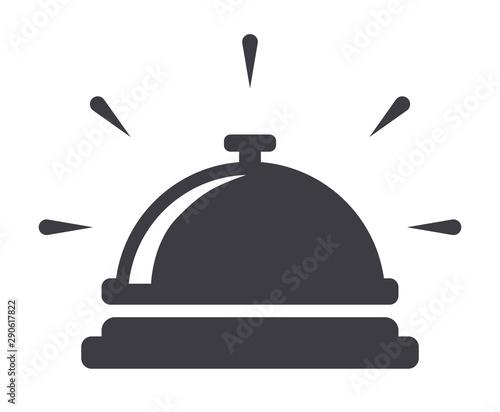 Cuadros en Lienzo Service bell icon flat vector illustration