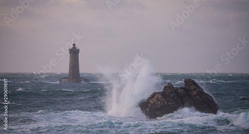Tempête phare du Four presqu'ile Saint Laurent Porspoder Finistère Bretagne Fran Canvas Print