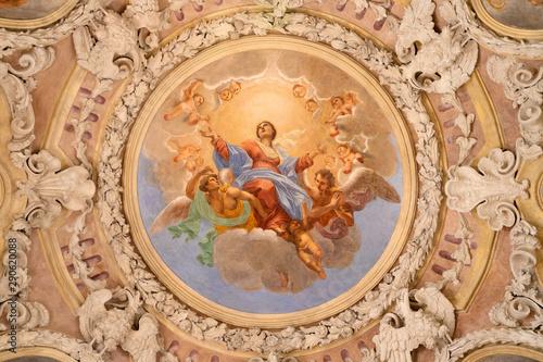 Valokuvatapetti RIVA DEL GARDA, ITALY - JUNE 13, 2019: The ceiling fresco of Assumption of Virgin Mary in church Chiesa di Santa Maria Assunta (Cappella del Suffragio) by Giuseppe Craffonara (19 cent