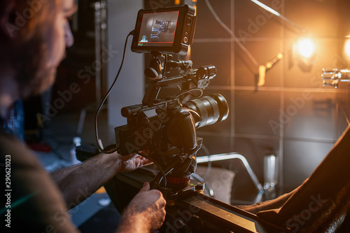 Behind the scenes of filming movies and video products, setting up equipment for shooting video and sound Tablou Canvas
