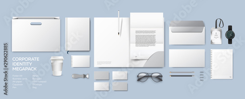 Foto auf AluDibond Retro Corporate identity premium branding design. Stationery mockup vector megapack set. Template folder and A4 letter, visiting card, paper bag and envelope. Empty objects for presentation company style.