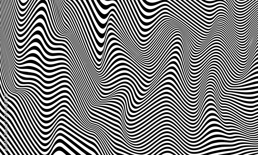 Fototapeta Optical illusion striped wrapped background vector design.