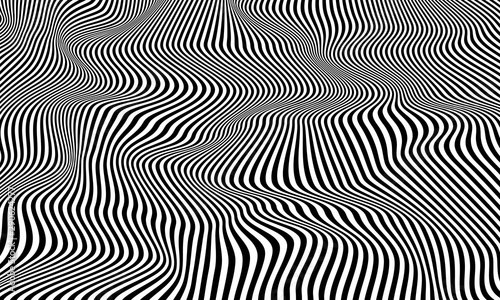 Fotografía Optical illusion striped wrapped background vector design.