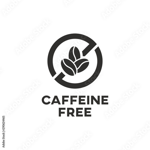 Carta da parati Caffeine free icon sign. Isolated coffee beans vector design.