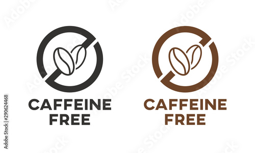 Photographie Caffeine free icon sign. Isolated coffee beans vector design.