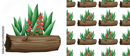 Seamless background design with bird of paradise on log