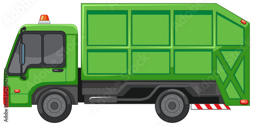 Garbage truck in green color