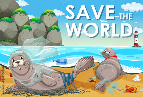 Poster design with two seals and plastic bags on beach