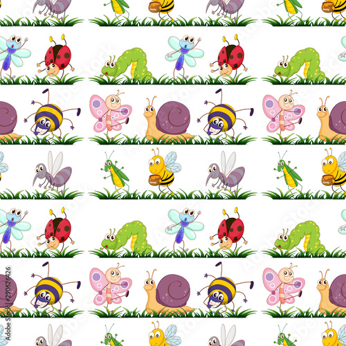 Poster Kids Seamless pattern tile cartoon with insects