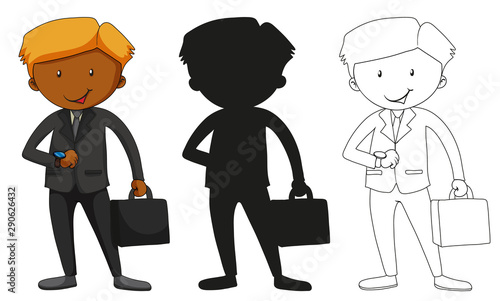 A set of characters in color, silhouette and outline