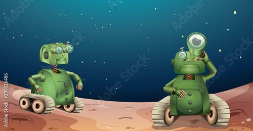 Alien robots on planet