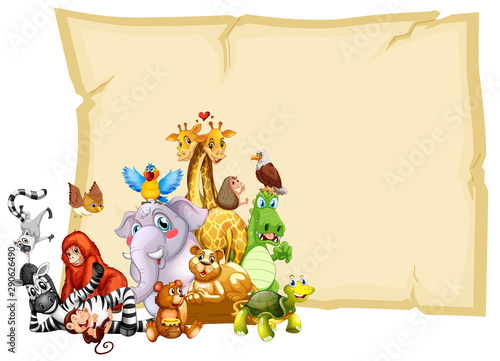 Poster Kids Border template design with cute animals