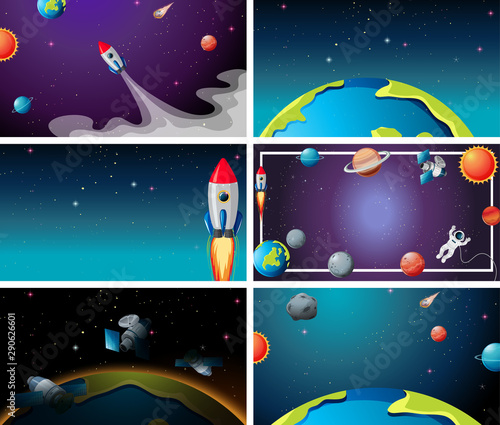 Poster Kids Set of outer space scenes
