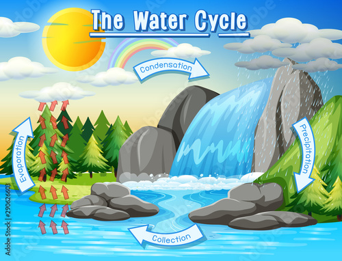 Poster Kids Water cycle process on Earth - Scientific