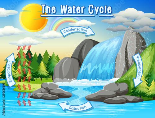 Keuken foto achterwand Kids Water cycle process on Earth - Scientific