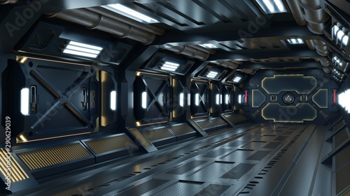 Fotomural Science background fiction interior room sci-fi spaceship corridors yellow