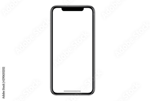 Fotomural Studio shot of Smartphone iphoneX with blank white screen for Infographic Global Business Marketing investment Plan, mockup model similar to iPhone 11 Pro Max