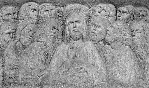 PADUA, ITALY - SEPTEMBER 9, 2014: The Modern relief of the Last supper on the altar in church Santa Maria dei Servi.