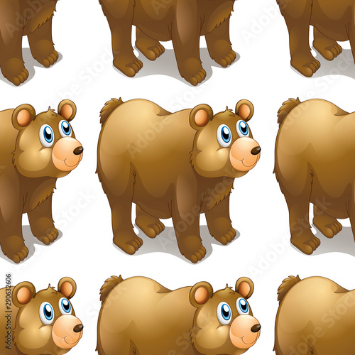 Photo sur Aluminium Jeunes enfants Seamless pattern tile cartoon with bear