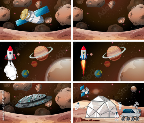 Photo sur Aluminium Jeunes enfants Set of mars scenes