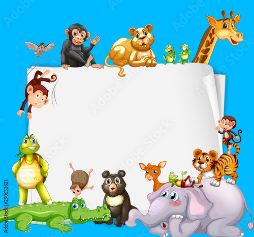 Photo sur Aluminium Jeunes enfants Border template design with cute animals