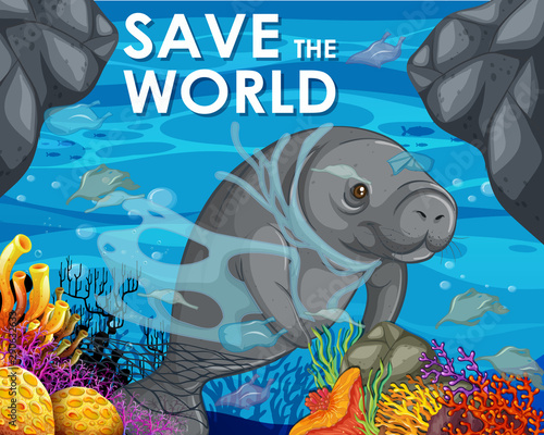 Montage in der Fensternische Kinder Poster design with manatee and plastic bags in ocean