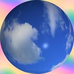 Cloudy Blue Sky Globe Rainbow Background