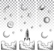 Scratchboard Style Ink Drawings Of Sky Elements