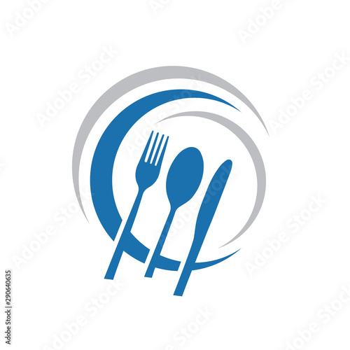 Tablou Canvas Knife Spoon and Fork Abstract logo Vector Graphic food icon symbol for cooking b