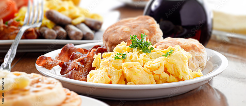 Fototapety, obrazy: huge breakfast plate with scrambled eggs, bacon and biscuits