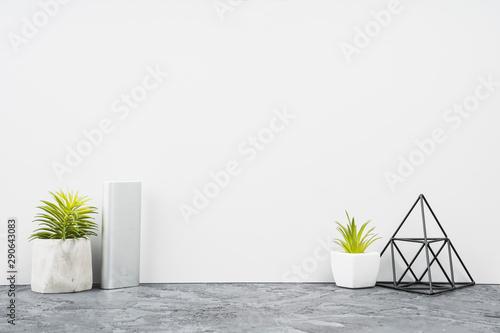 Fototapeta  Mock up : Stylish minimalist white with supplies, house plant