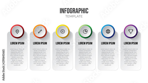 Fotografie, Tablou  Infographic element vector with 6 options or steps