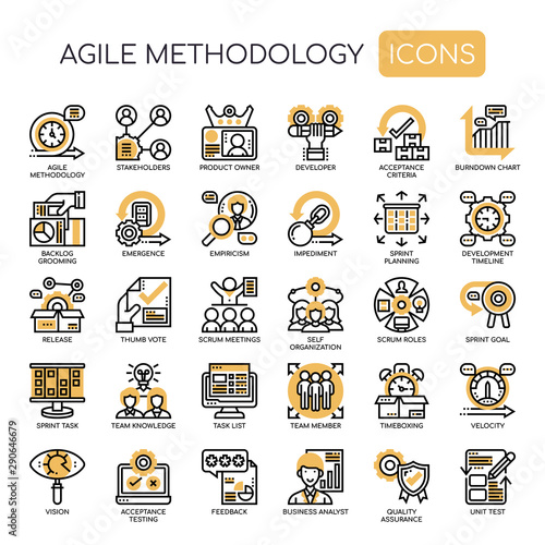Photo Agile Methodology , Thin Line and Pixel Perfect Icons