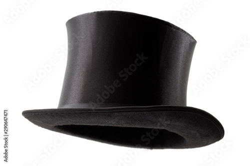 Obraz Stylish attire, vintage men fashion and magic show conceptual idea with 3/4 angle on victorian black top hat with clipping path cutout in ghost mannequin technique isolated on white background - fototapety do salonu