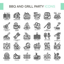 BBQ And Grill Party , Thin Lin...
