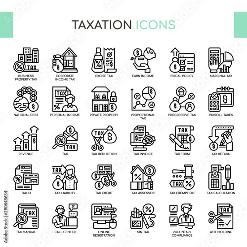 Taxation , Thin Line and Pixel Perfect Icons Wallpaper Mural