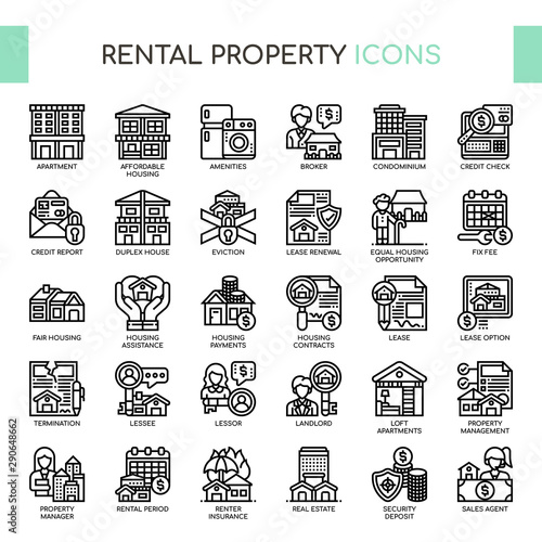 Fotomural  Rental Property Investing , Thin Line and Pixel Perfect Icons