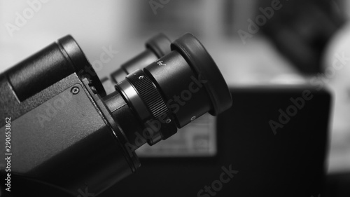Fotografia  Microscope in black and white tone.