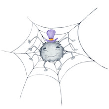 Halloween Watercolor Illustration With Cute Charecter Spider