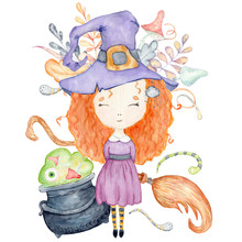 Halloween Watercolor Greeting Card With Cute Witch