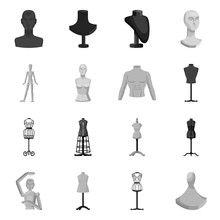 Vector Design Of Mannequin And Fashion Icon. Collection Of Mannequin And Manikin Stock Symbol For Web.