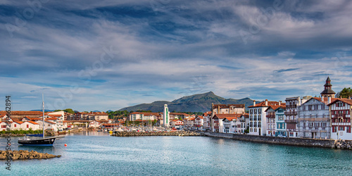 Fishing harbor of St Jean de Luz in the Basque Country, France Canvas Print