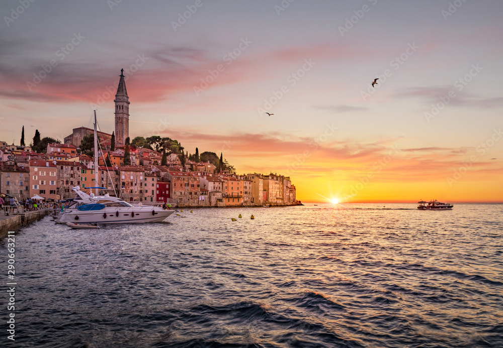 Fototapety, obrazy: Classic view of Rovinj old town at sunset, Istria, Croatia