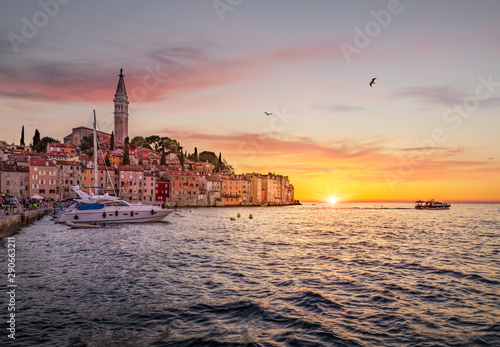 Classic view of Rovinj old town at sunset, Istria, Croatia