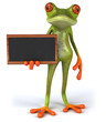 canvas print picture Fun 3D green tropical frog with a chalkboard